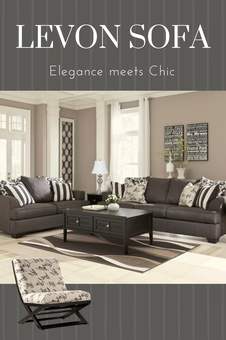 Contemporary Living Set Levon Collection Oversized Grey Sofa For Your Contemporary Living