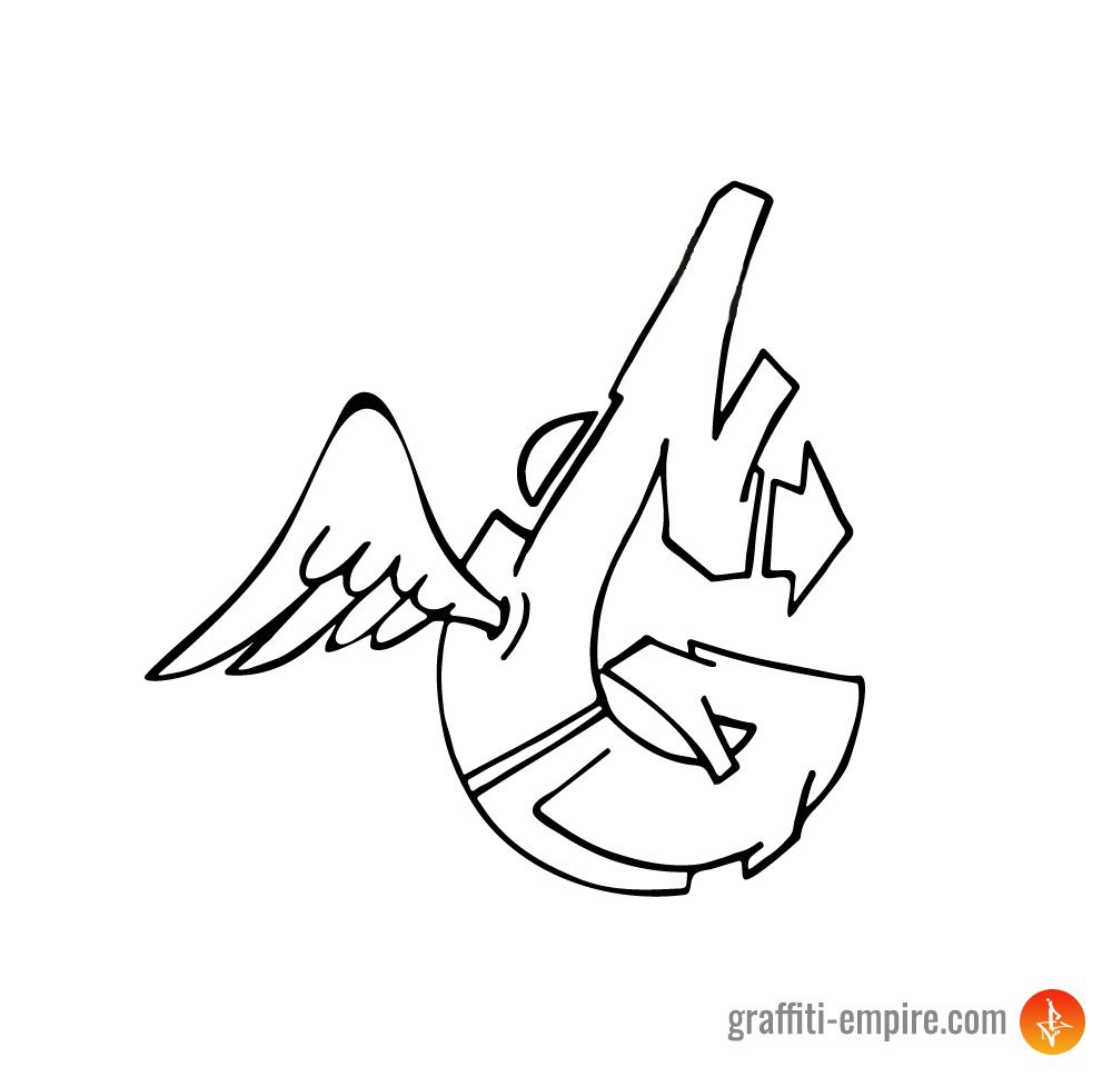 Wild Style G Graffiti Letter With Wing Done By Graffiti Empire With Copic Marker