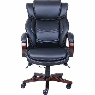 La Z Boy Dresden Leather Executive Office Chair, Fixed Arms, Black (