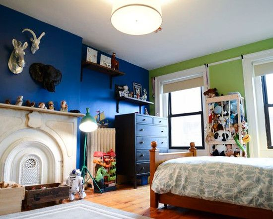 Bedroom paint color kids with boys ideas blue the jungle for Boys room paint ideas