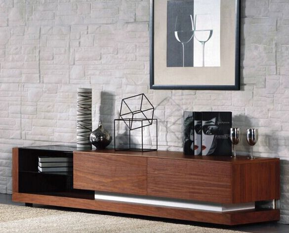 Misha walnut lowline TV entertainment unit with black glass