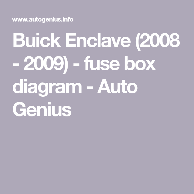 buick enclave (2008 2009) fuse box diagram auto genius my 2009 honda fit fuse box buick enclave (2008 2009) fuse box diagram auto genius