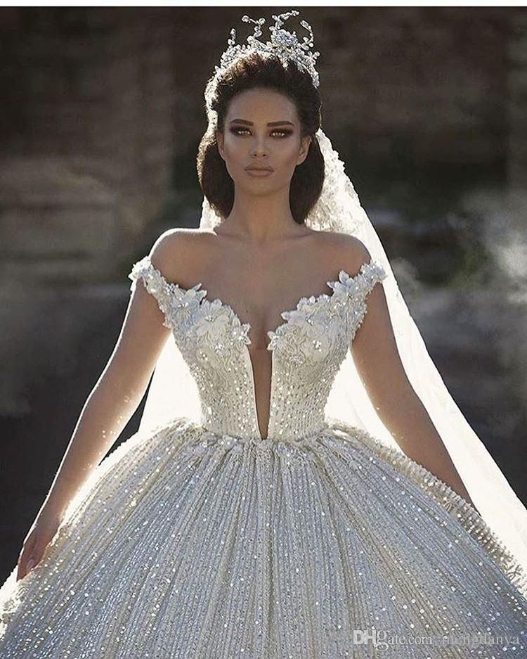 2019 Dubai Arabic Wedding Dresses Lace Appliques Off: 2017 Off Shoulder Lace Appliques Ball Gown Wedding Dresses