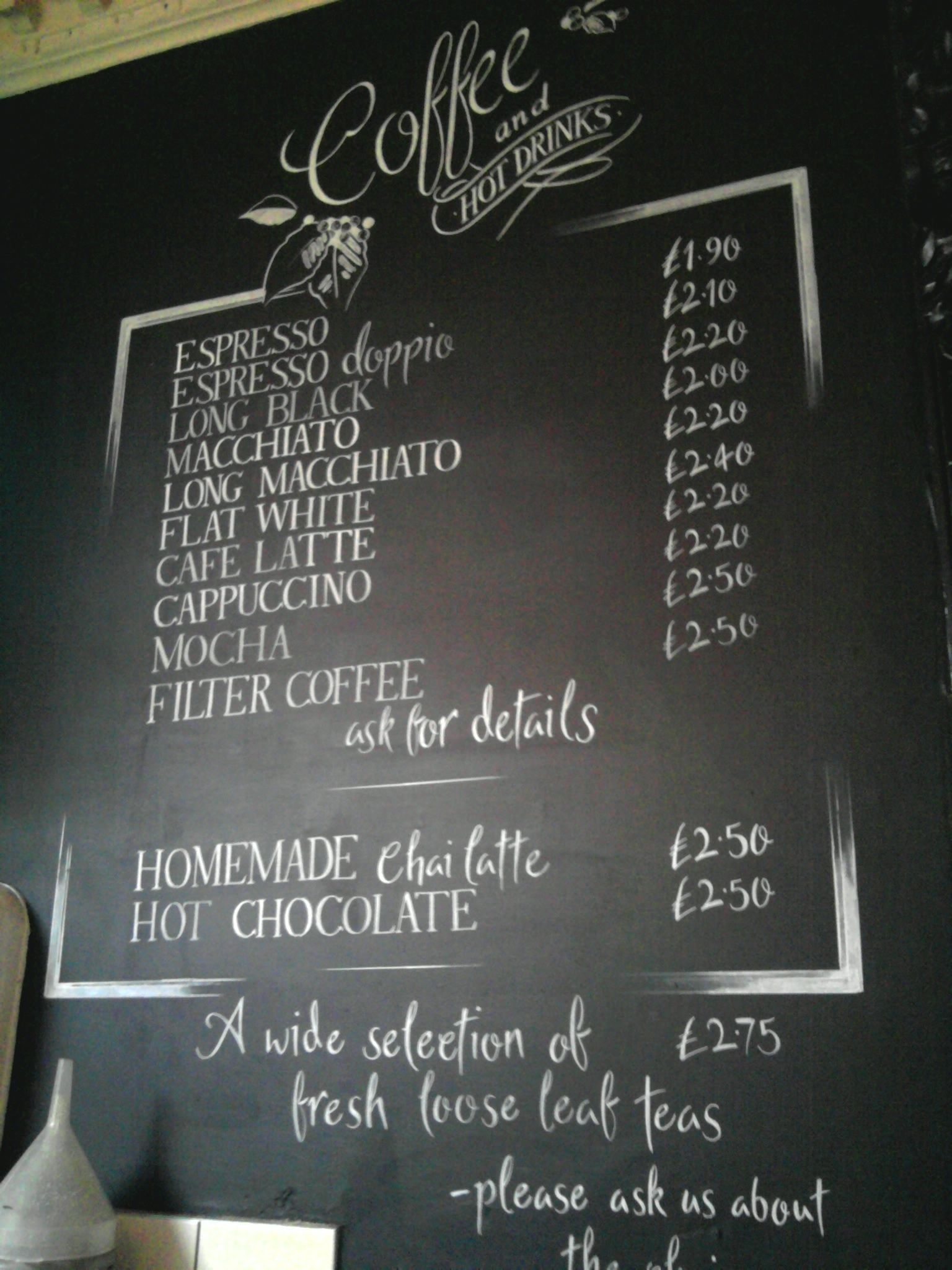 Hot drinks black board hand drawn for local cafe jika jika for Blackboard design ideas