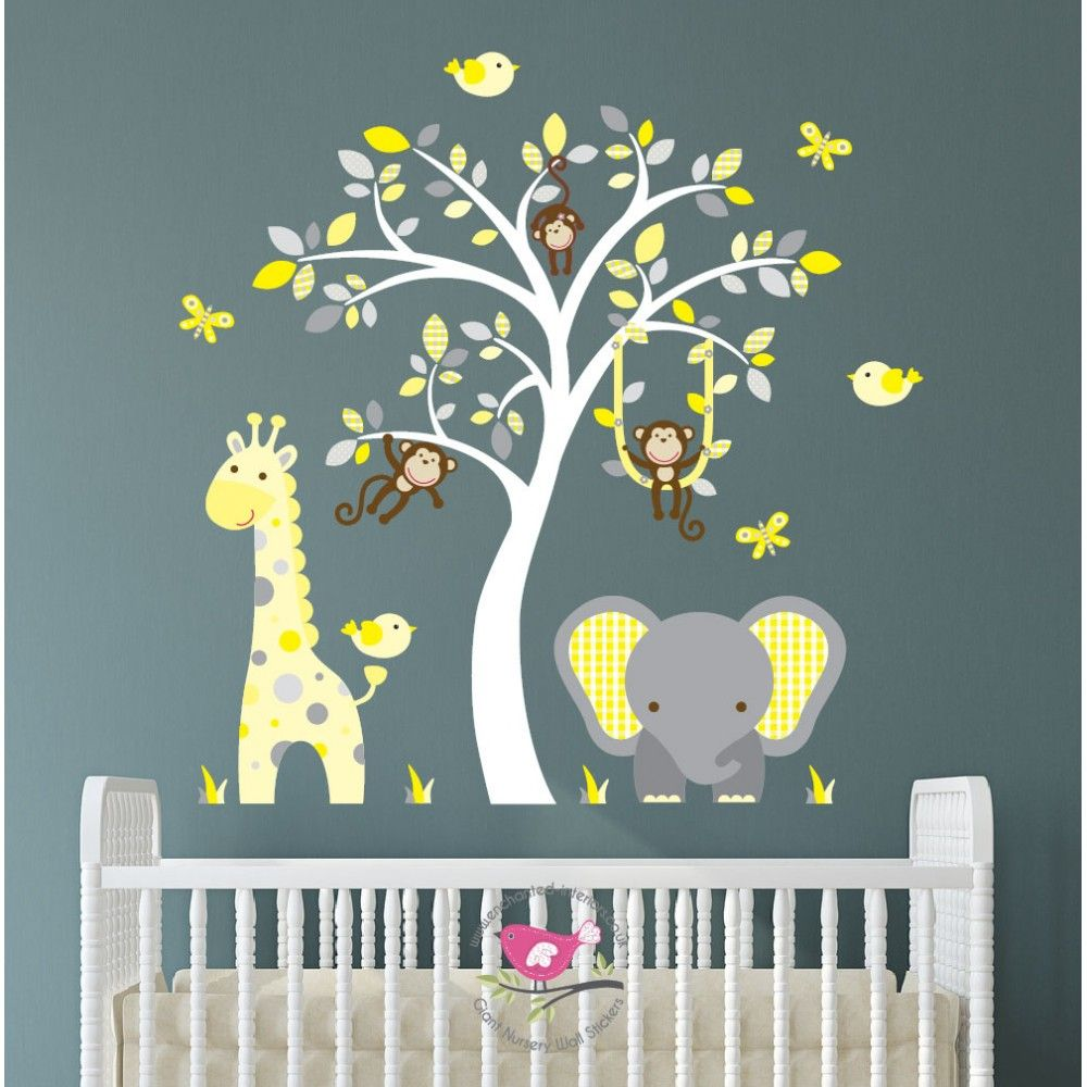 Jungle Decal Yellow And Grey Nursery Decor Feat Cheeky Monkey A Giraffe Baby Elephant White Tree Mural