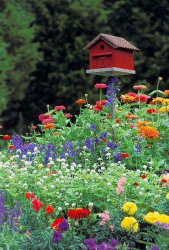 Photo of Red barn birdhouse in brightly blooming summer flower garden | Mother-Daughter Press