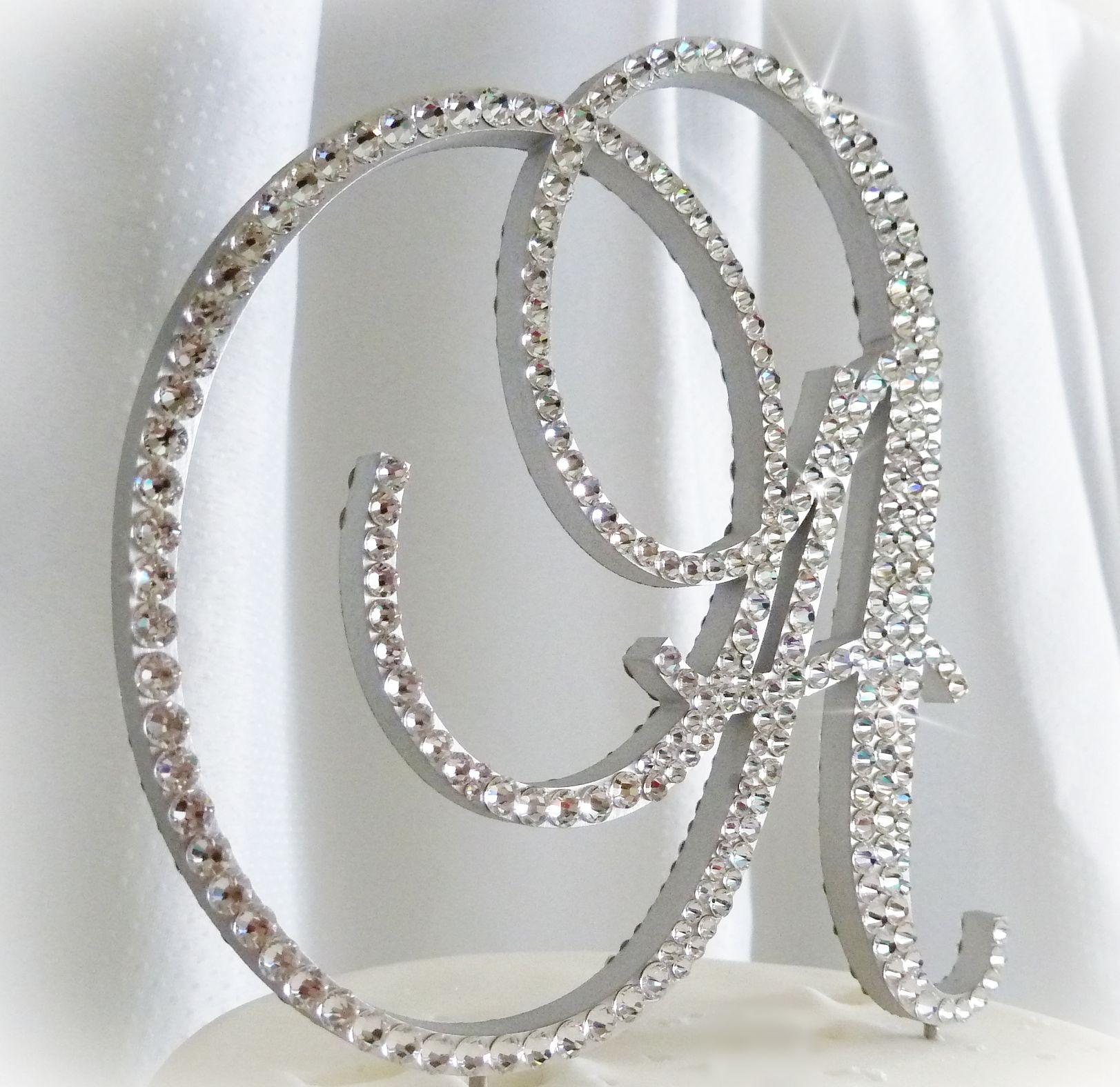 crystal wedding cake toppers | Swarovski Crystal Monogram Cake ...