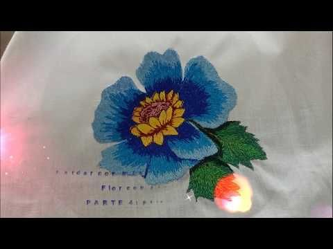 259a3398adb Bordado de flor con maquina de coser eléctrica con solo puntada recta- P4  petalos pequeños - YouTube