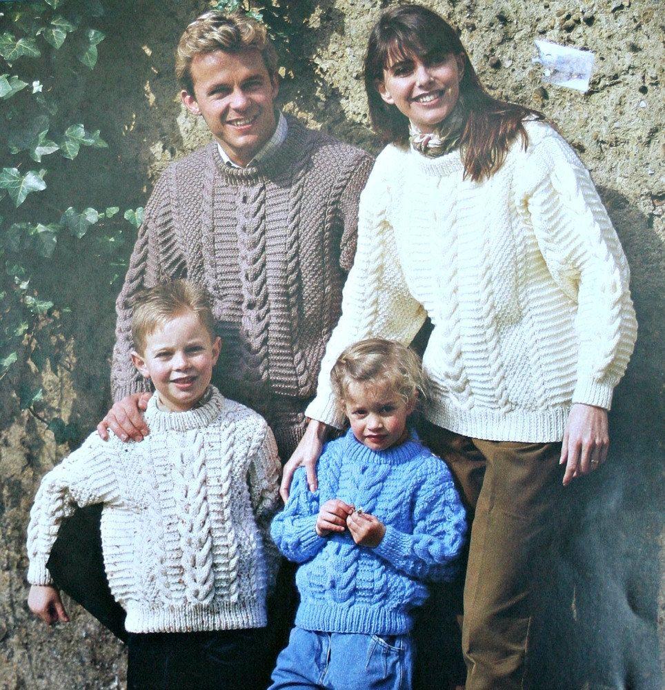 Aran Sweater Knitting Pattern Stylecraft 4173 Men Women Children Sizes 24 - 44 inches 61 - 112 cm Paper Original NOT a PDF by elanknits on Etsy
