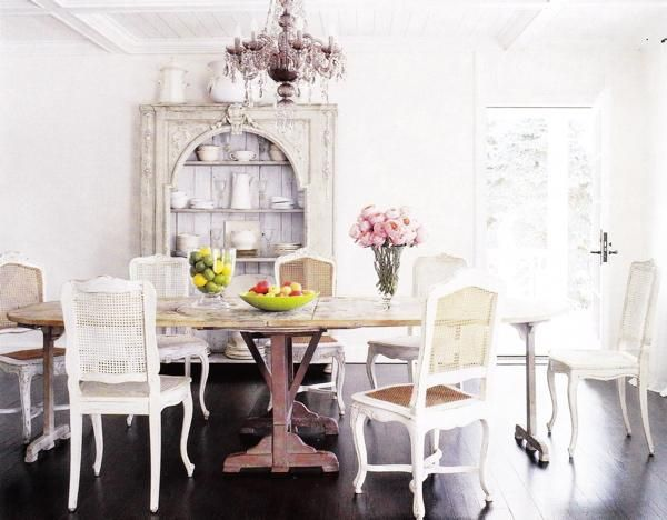 I Love The White Chairs With The Weathered Table Pinned From Endearing Cane Dining Room Chairs Design Inspiration