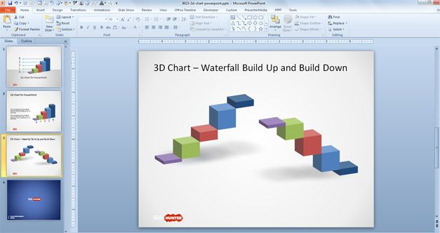 3d Concept Bar Charts For Powerpoint Presentations Waterfall Charts