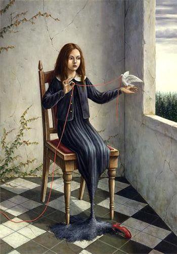'Red Thread' (2002) by Japanese artist Shiori Matsumoto (b.1973). Acrylic & oil on canvas,