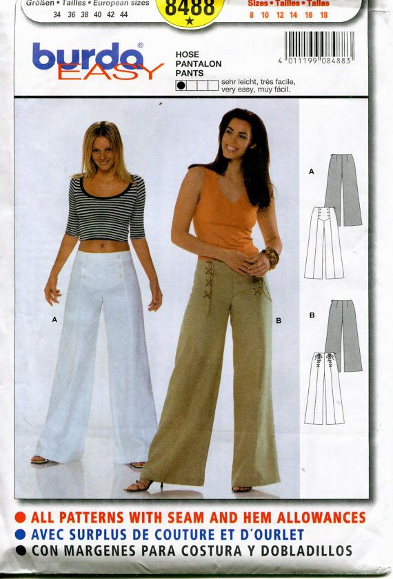 SEWING PATTERN - BURDA 8488 MISSES PANTS/TROUSERS PATTERN: High ...