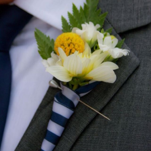 Seafoam Green Wedding Ideas: Boutonnière, Wedding Colors Were Navy Blue, White, And Sea