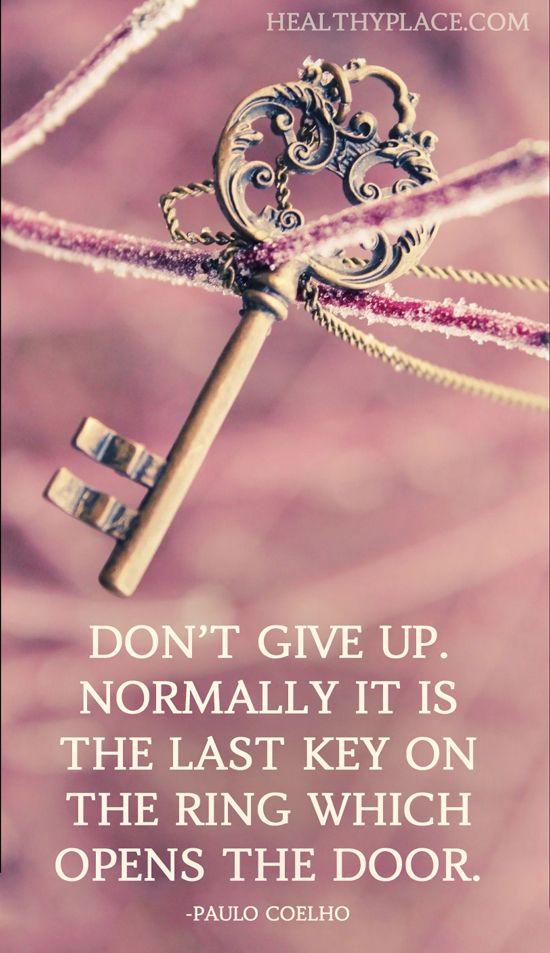 Risultati immagini per don't give up usually it's the last key