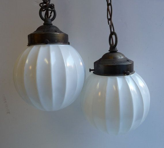 Vintage Hanging Lights Two Pendants White Fluted Glass Ball Globes Double Fixture Retro Lighting