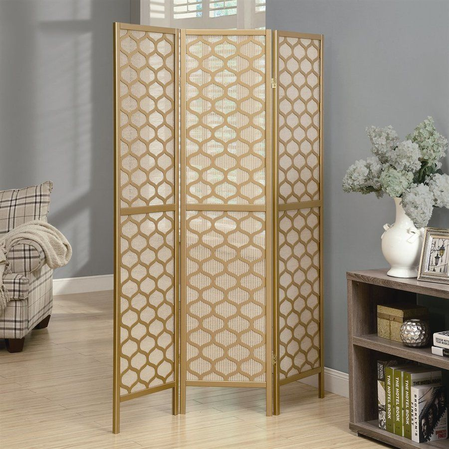 Monarch Specialties 3 Panel Gold Paper Folding Indoor Privacy
