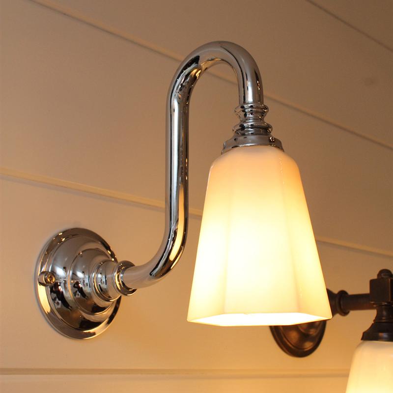 Classic Bathroom Wall Light With Chrome Gooseneck With Images Wall Lights Glass Wall Lights Bathroom Wall Lights