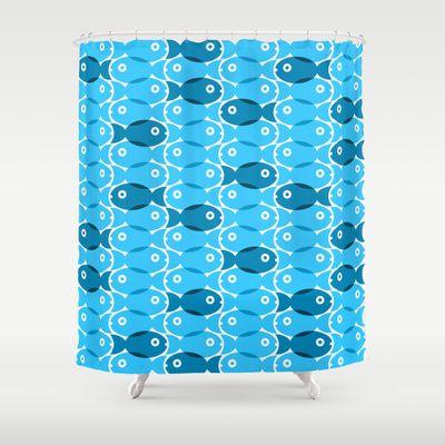 Blue Fish Shower Curtain by Ornaart - $68.00 | My Stuff | Pinterest