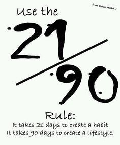 Create first a good habit, next push on to create a good lifestyle. I do not know how accurate 21 da...
