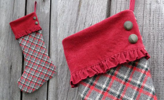 Personalized Stocking from Plaid Wool Fabric  Dark by MilaStyle