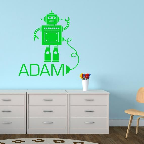 robot wall sticker - personalised robot with wire wall sticker