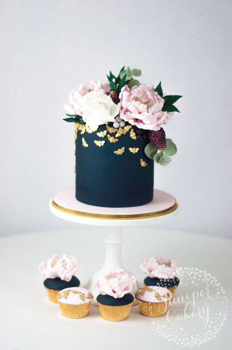 navy blue blush and gold wedding cake navy and blush cake by juniper cakery wedding cakes 17764