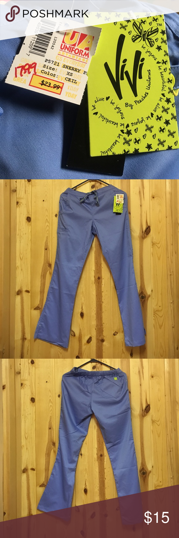 6aaa856e85c Peaches 🍑 ViVi Scrub Pant Blue NWT Peaches 🍑 ViVi Scrub Pant Blue NWT Pant  has two Side Pockets and one Back Pocket Has leg pocket with a butterfly 🦋  by ...