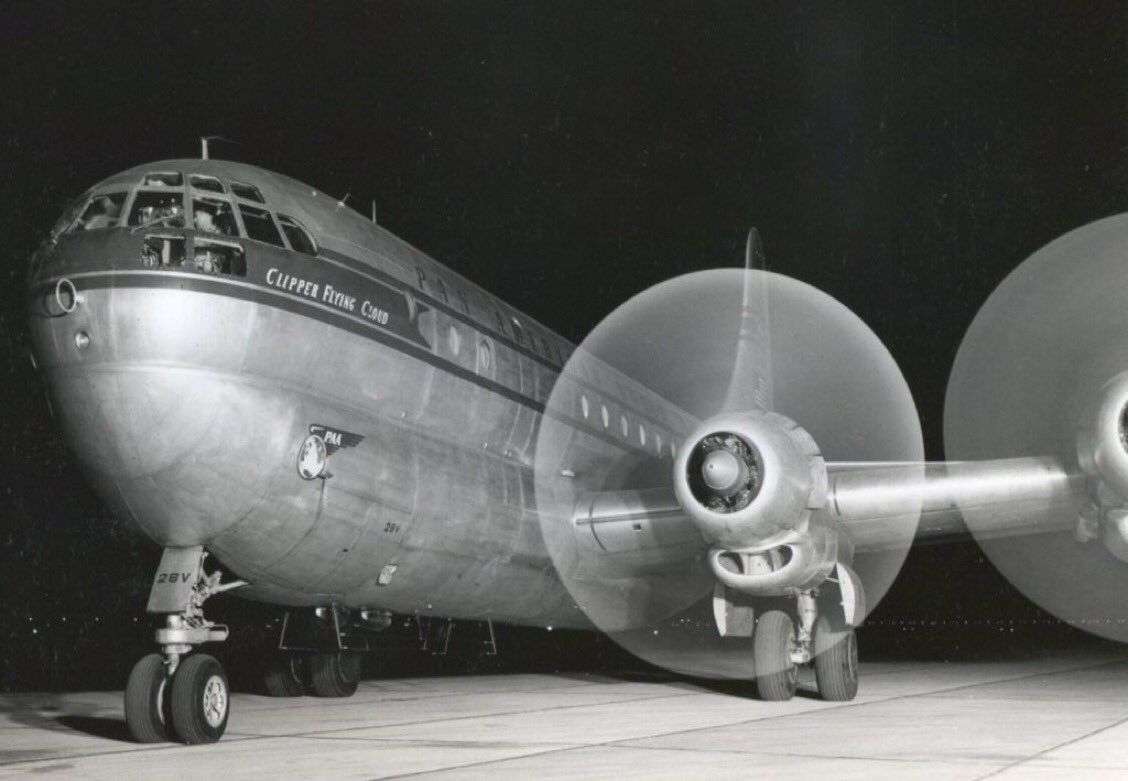 Cutaway of a pan am boeing 377 stratocruiser image from chris sloan - Vintage Pan Am Boeing 377 Stratocruiser Clipper Flying Cloud Ready For A Nighttime Departure