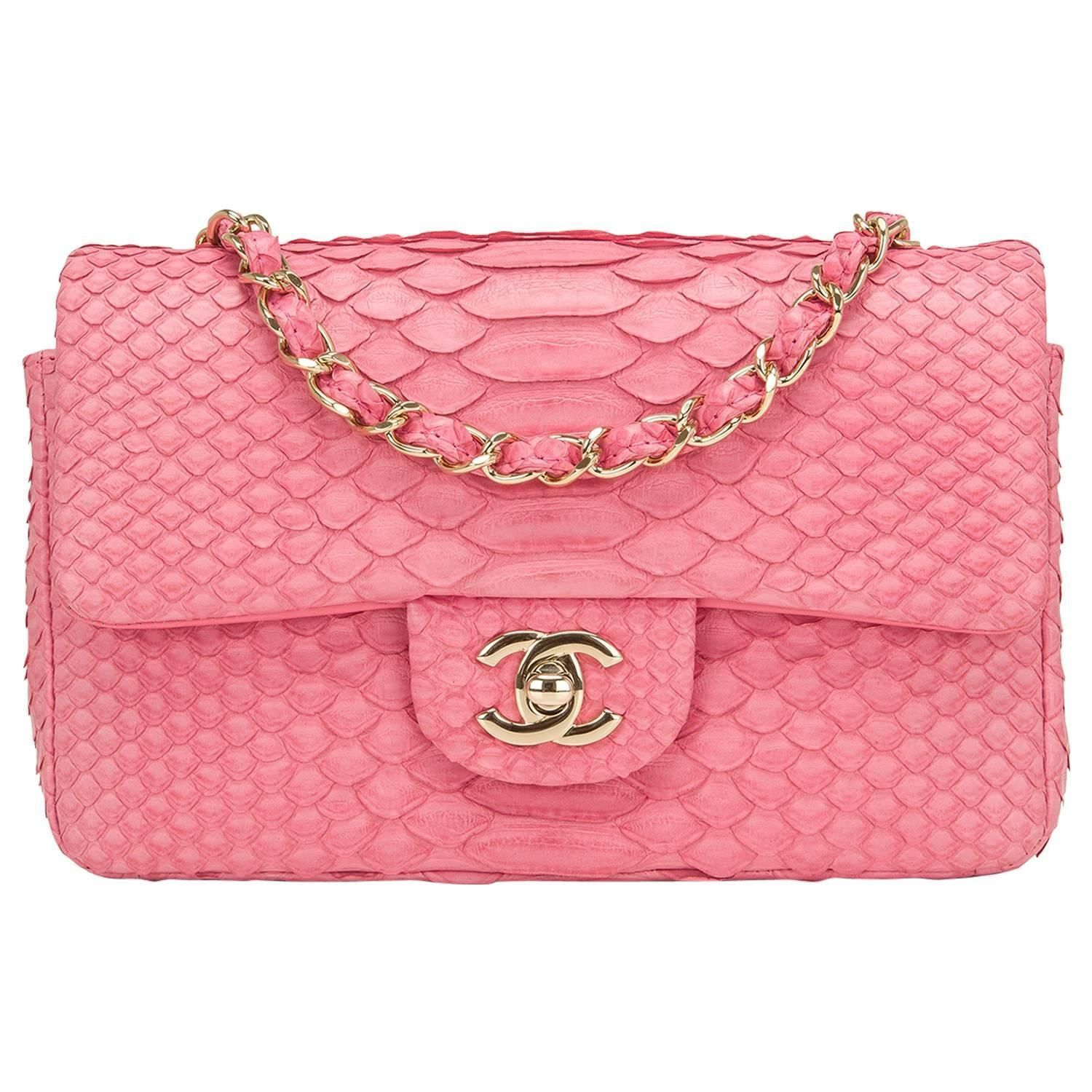 89e00931c5f Chanel Pink Python Rectangular Mini Classic Flap Bag in 2018 ...