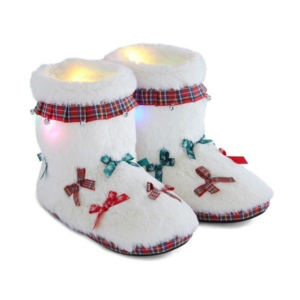 Women's Ugly Christmas Slippers Light-Up House Booties ($40) ❤ liked on Polyvore featuring shoes, slippers and ivory