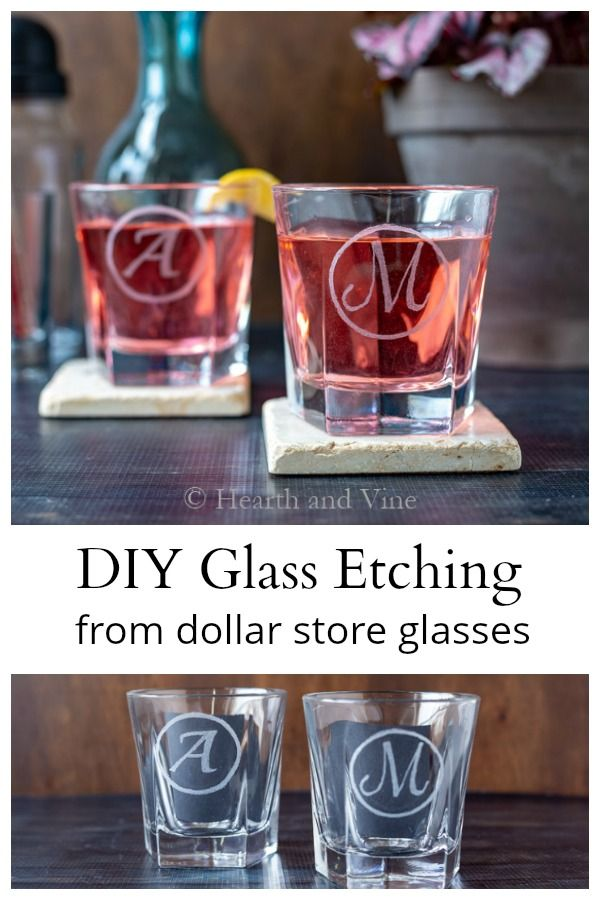 DIY Glass Etching Tutorial to Make Personalized Gifts - Glass etching diy, Engraving glass diy, Glass etching tutorial, Etching diy, Glass etching gifts, Diy glass - This DIY glass etching barware is created with a simple Dremel tool and dollar store glasses for daughter's new apartment