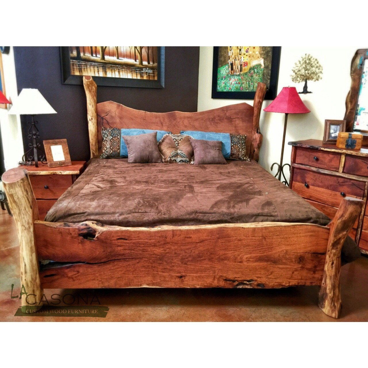 Live Edge Wood Slab Bed Rustic bedding, Bed, Rustic