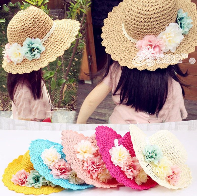 a62945e93dc Girl Infant Kids Baby Children Sun Beach Flower Cap Handmade Straw Hat  Sunbonnet  Handmade  SunHat