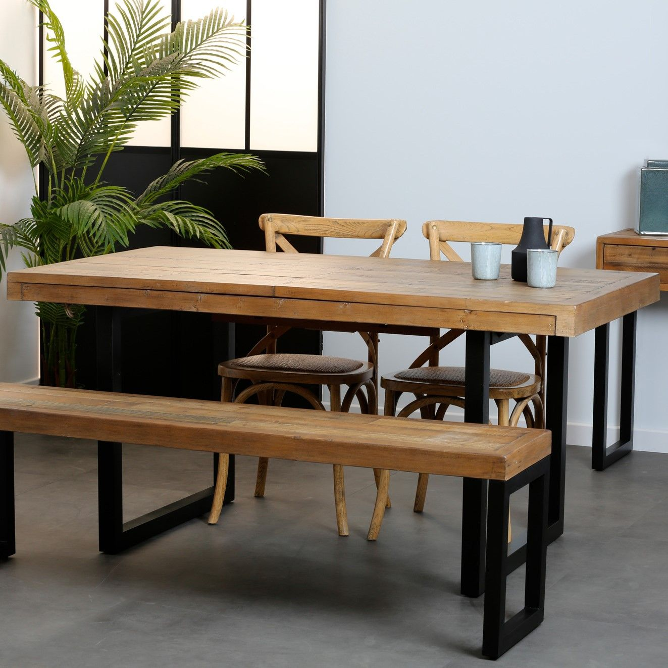 Table A Manger Extensible Bois Recycle 160 200 Cm Brisbane Table A Manger Extensible Meuble Salle A Manger Table Salle A Manger