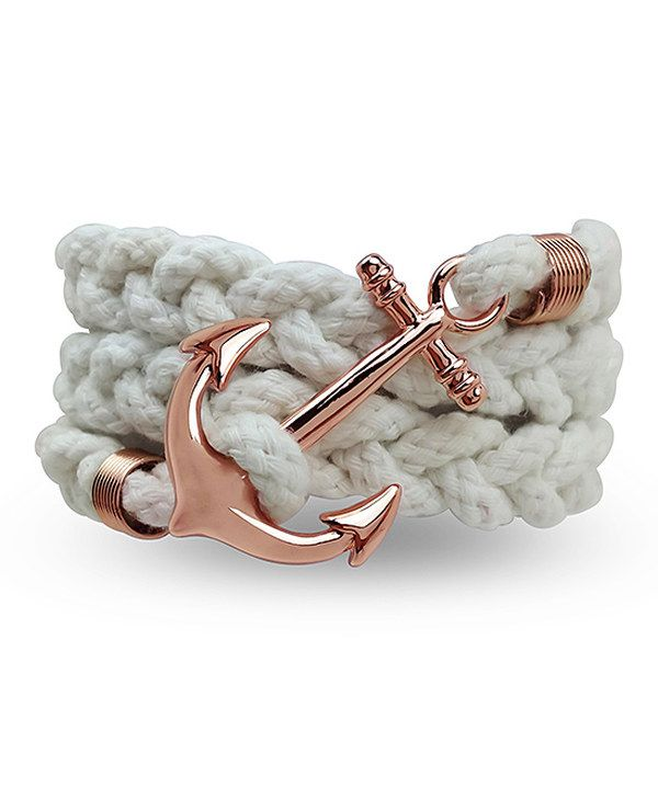 Look at this Amabel Designs White & Rose Goldtone Anchor Rope Bracelet on #zulily today!
