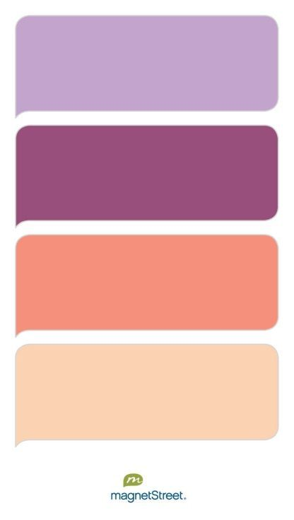 Lilac mulberry coral and peach wedding color palette for Purple mauve color