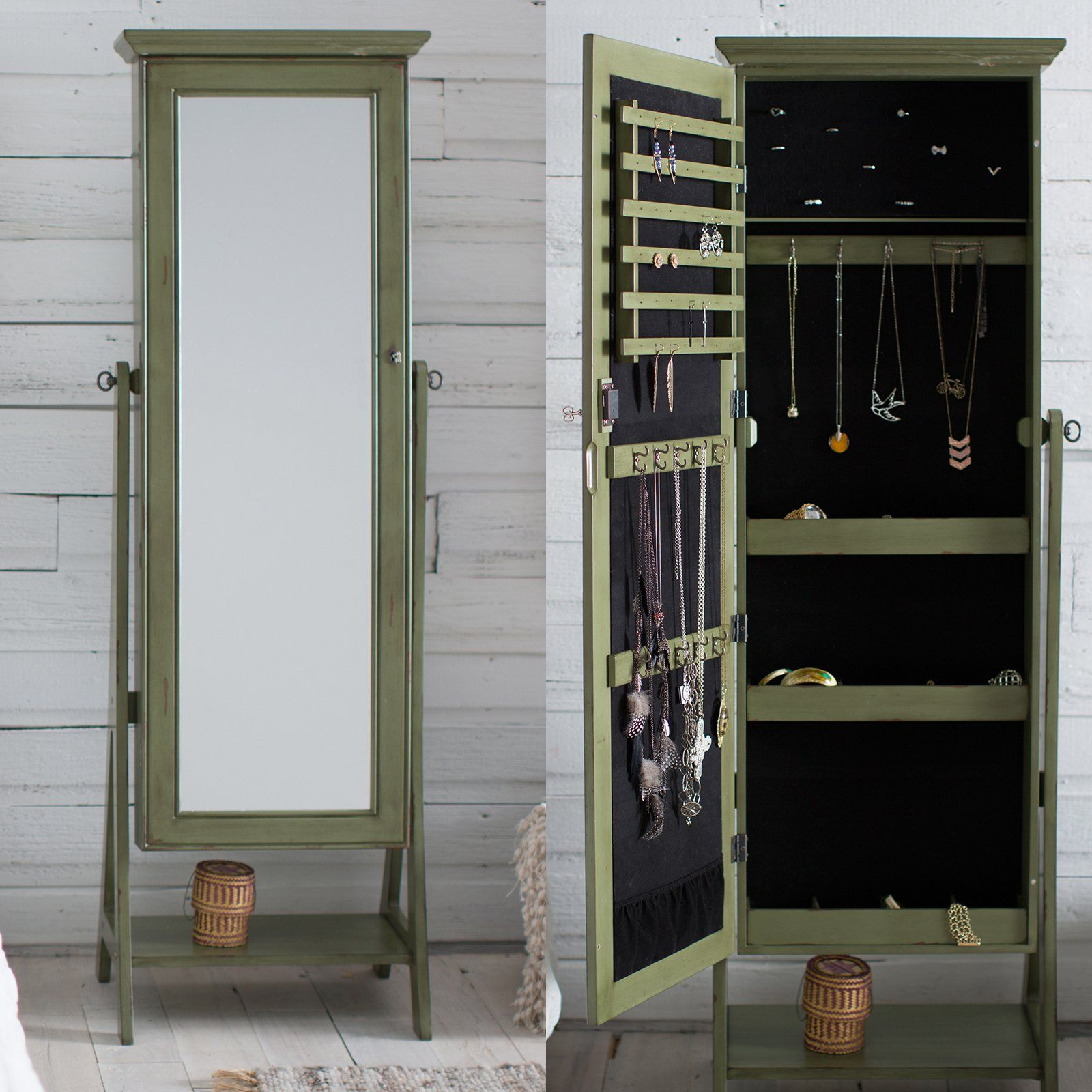 Belham Living Locking Cheval Mirror Jewlery Armoire