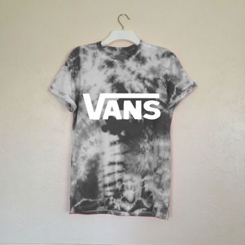 Unisex Hand Printed & Customized Vans off the Wall Tie Dye Tee in Grey