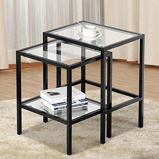 Topeakmart Set Of 2 Modern Black Metal Glass Top Nesting Side End Tables With Stor Glass Coffee Tables Living Room Coffee Table With Shelf Glass Nesting Tables