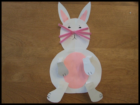 Easter bunny with springy arms and legs craft for kids easter