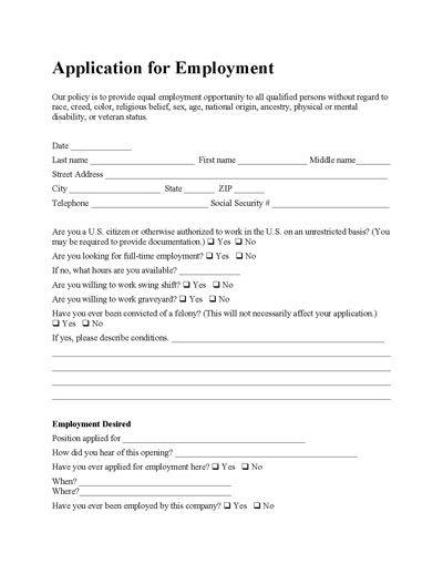 Free Employee Application Form Employment Application Printable Job Applications Application Form