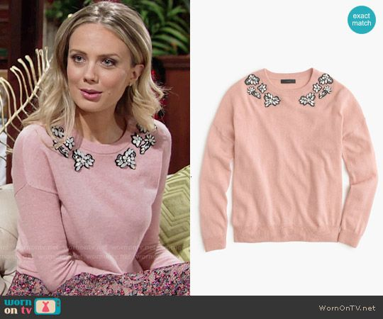 3e44f98d173667 Abby s pink gemstone sweater and floral skirt on The Young and the Restless
