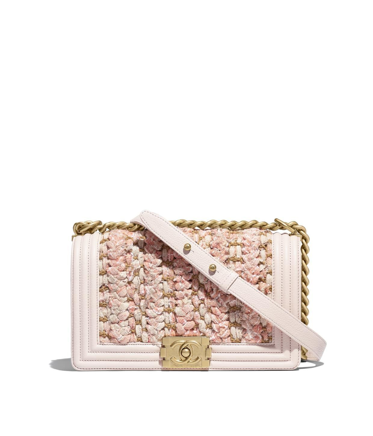 7eec1fcf17f7 Discover the CHANEL Braided Tweed, Calfskin & Gold-Tone Metal Beige & Pink  BOY CHANEL Handbag, and explore the artistry and craftsmanship of the House  of ...