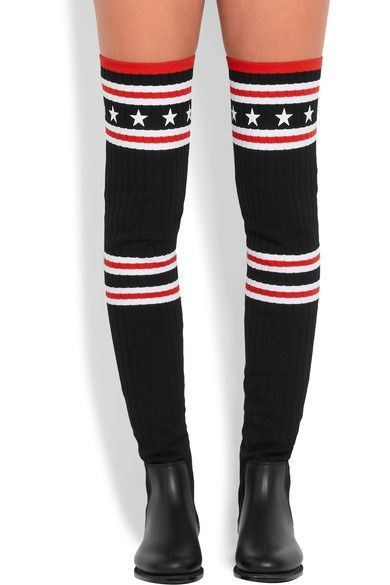 fdcf5d6dc Givenchy - Storm rubber and ribbed-knit thigh sock boots | Products ...