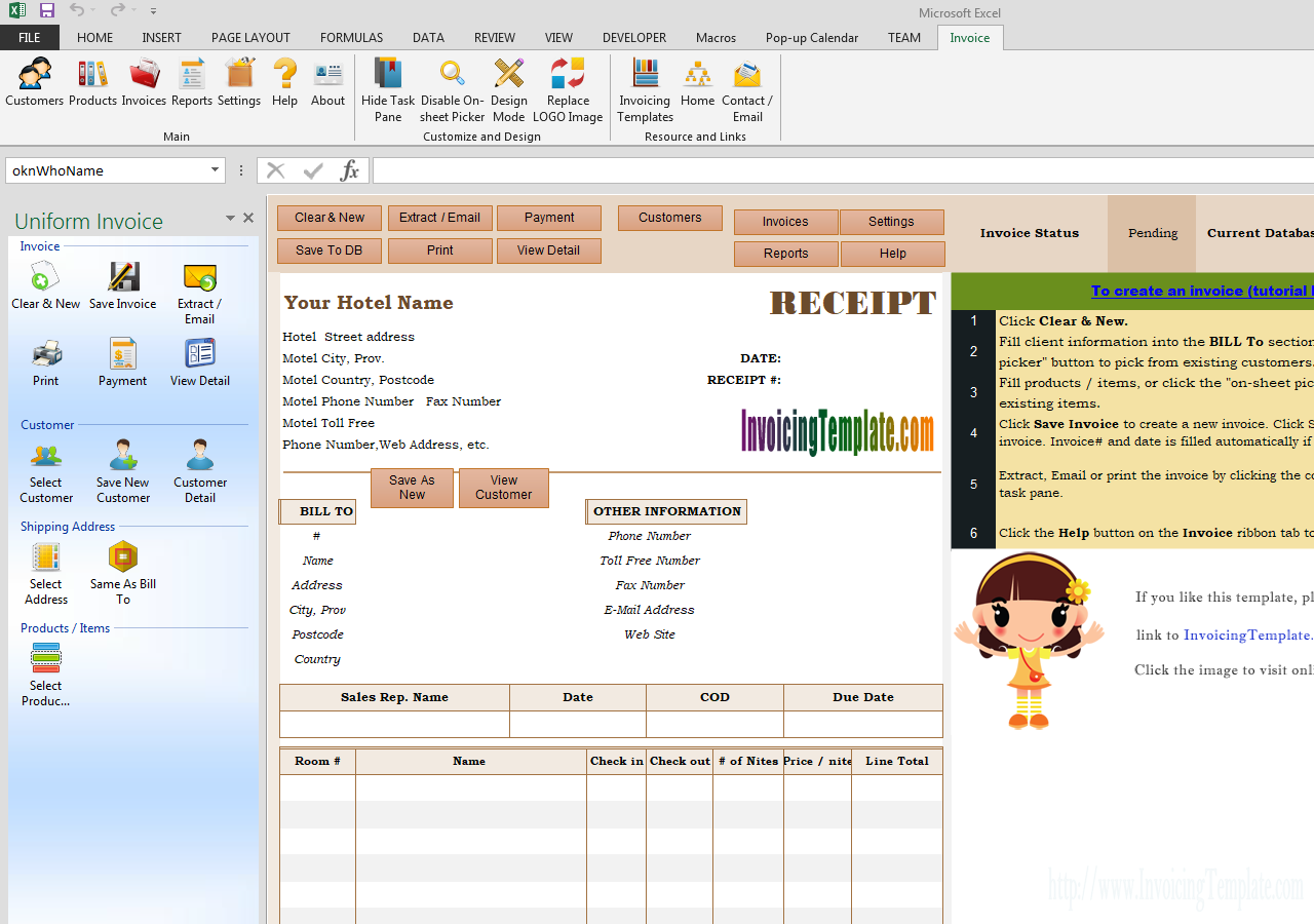 Hotel Receipt Template Receipt Template Invoice Template Invoice Format In Excel
