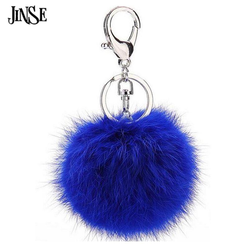 JINSE RFK016 15 Farben Keychain Kaninchenfell Bommel Ball KeyChain ...