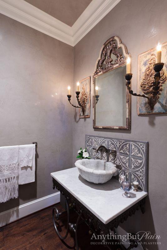 Pin By Venetian Plaster Art On Venetian Plaster On The: Venetian Plaster Finish Walls With Antique Mirror