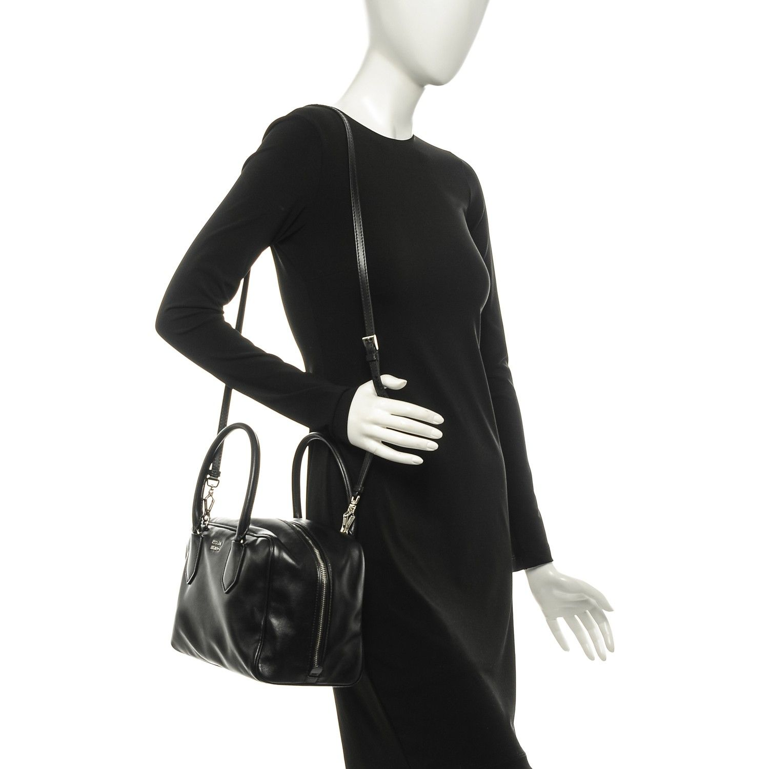 85e0d3a11a5b This is an authentic PRADA Soft Calf Medium Inside Tote Nero Black Mughetto.  This stunning