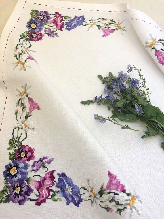 Photo of Tablecloch Cross stitched  with wild flowers, table decor, f…